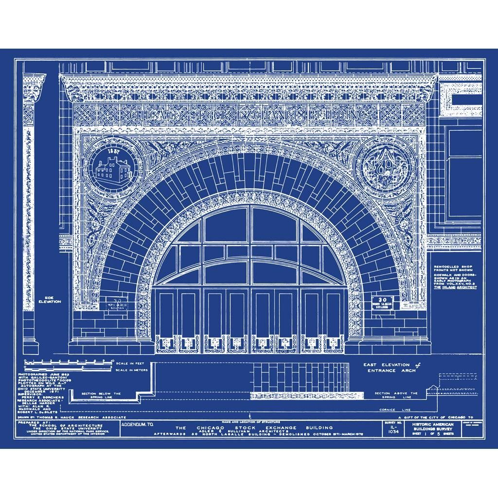 Chicago stock exchange chicago il architectural blueprint chicago stock exchange chicago il architectural blueprint malvernweather Images