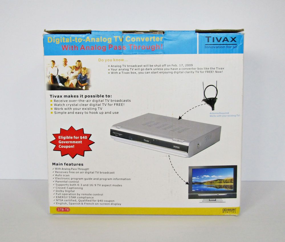 Tivax Digital to Analog TV Converter Box & Remote STB-T8 Digital TV Tuner NIB #Tivax