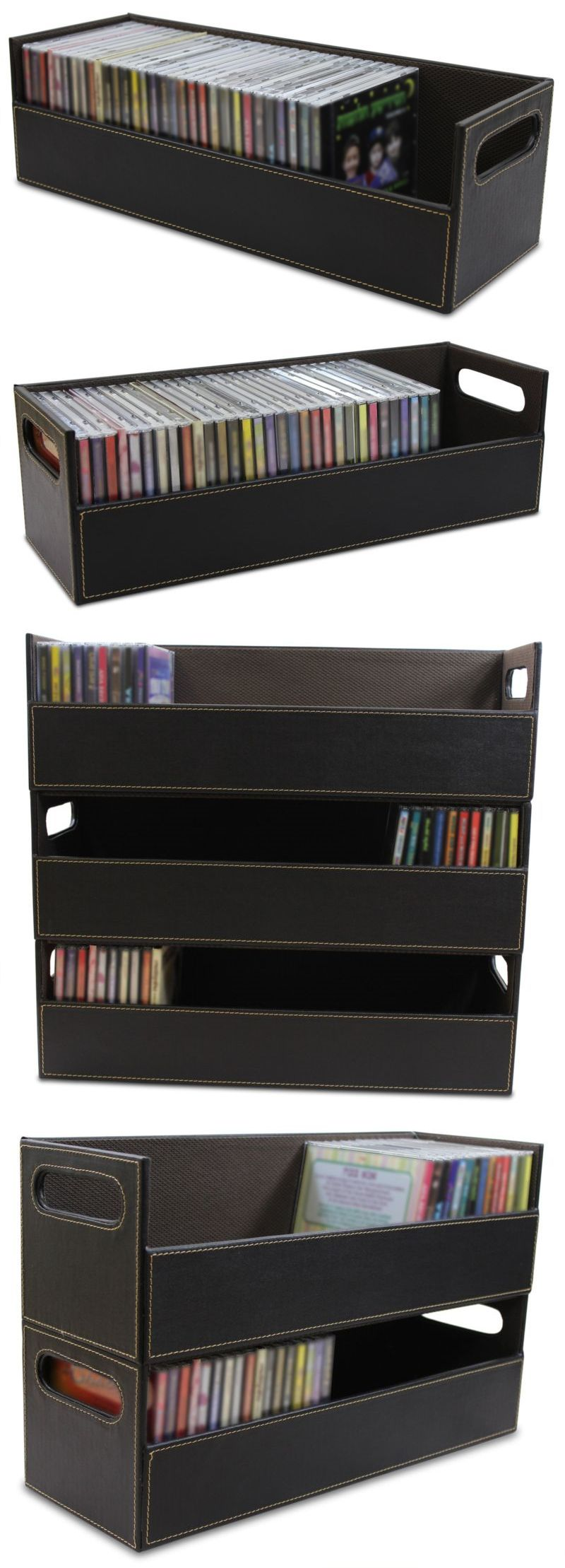 media cases and storage 40 cd storage box rack holder stacking tray shelf dvd disk