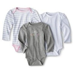 Cat and Jack Baby Girl Grey Ruffled Long Sleeves Cotton Bunny Rabbit Bodysuit