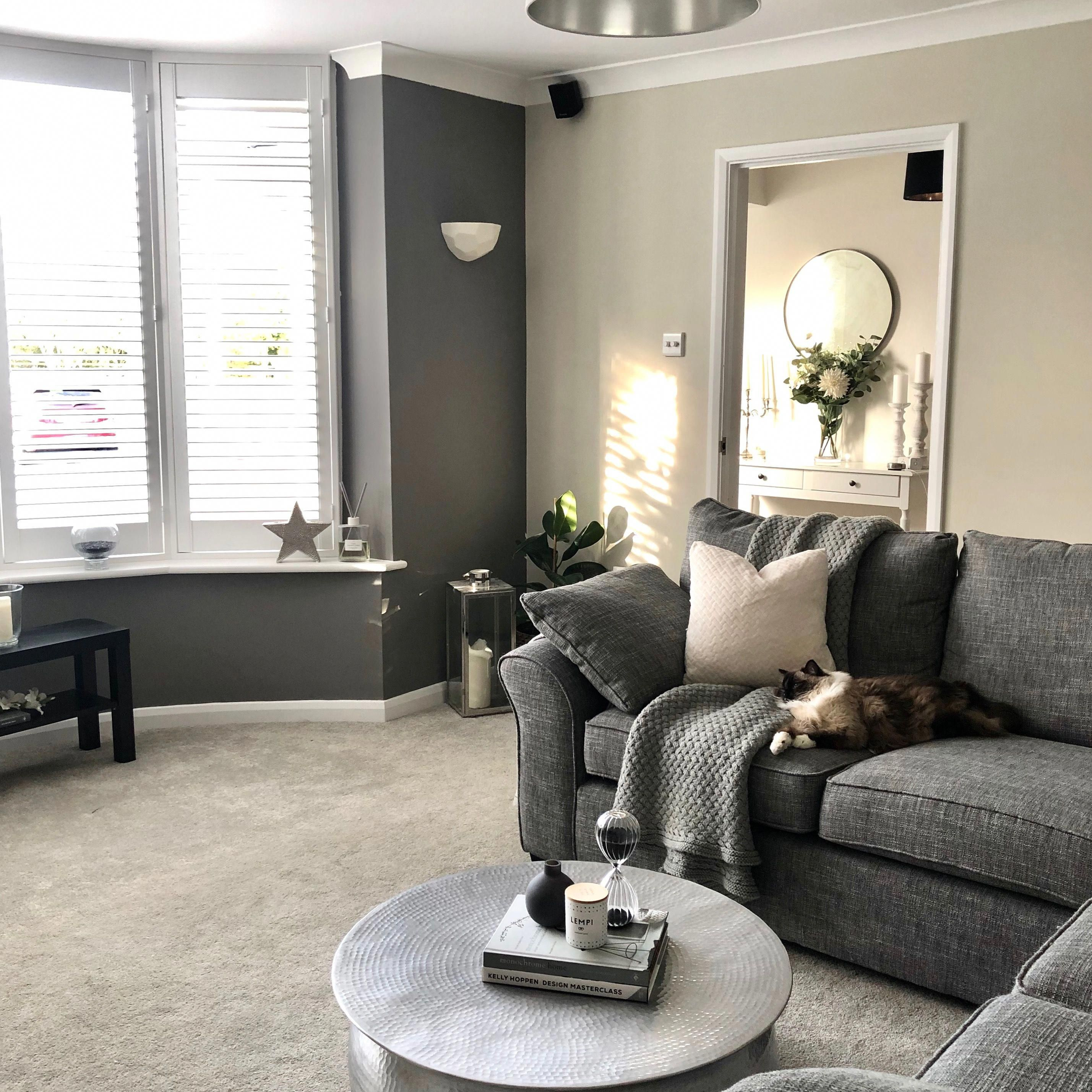 My Newly Redecorated Living Room With A Dark Grey Farrow And Ball Feature Wall In Colou Living Room Decor Gray Grey Sofa Living Room Living Room Color Schemes