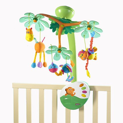 The Arch Of The Sweet Island Dreams Mobile From Tiny Love Is Designed Like A Tree Trunk With Green Leafy Branches Tiny Love Mobile Crib Toys Baby Toddler Toys