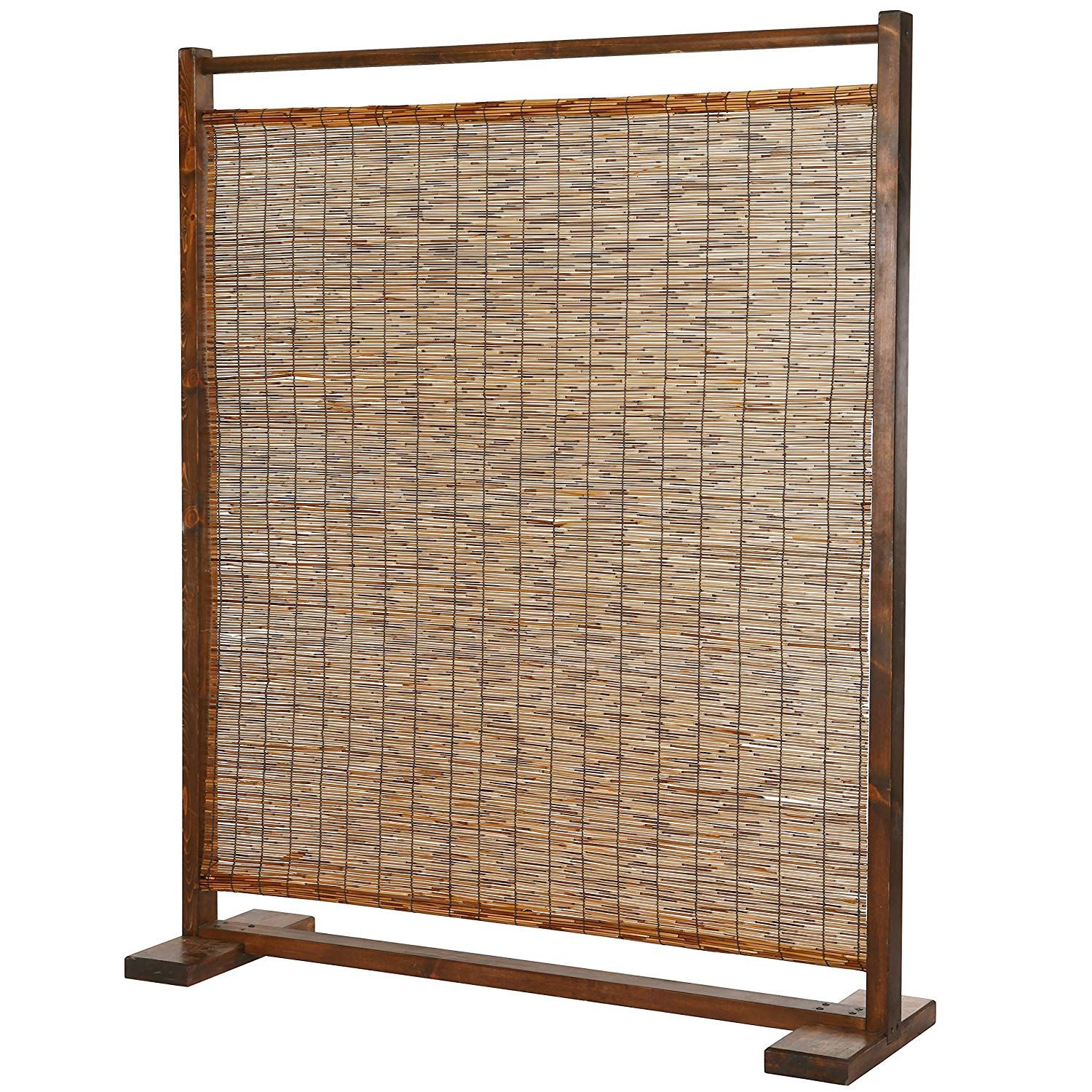 Amazon Com Mygift Freestanding Rustic Style Wood Reed Single Panel Room Divider Brown Kitchen Dining Room Divider Bamboo Room Divider Rustic Style