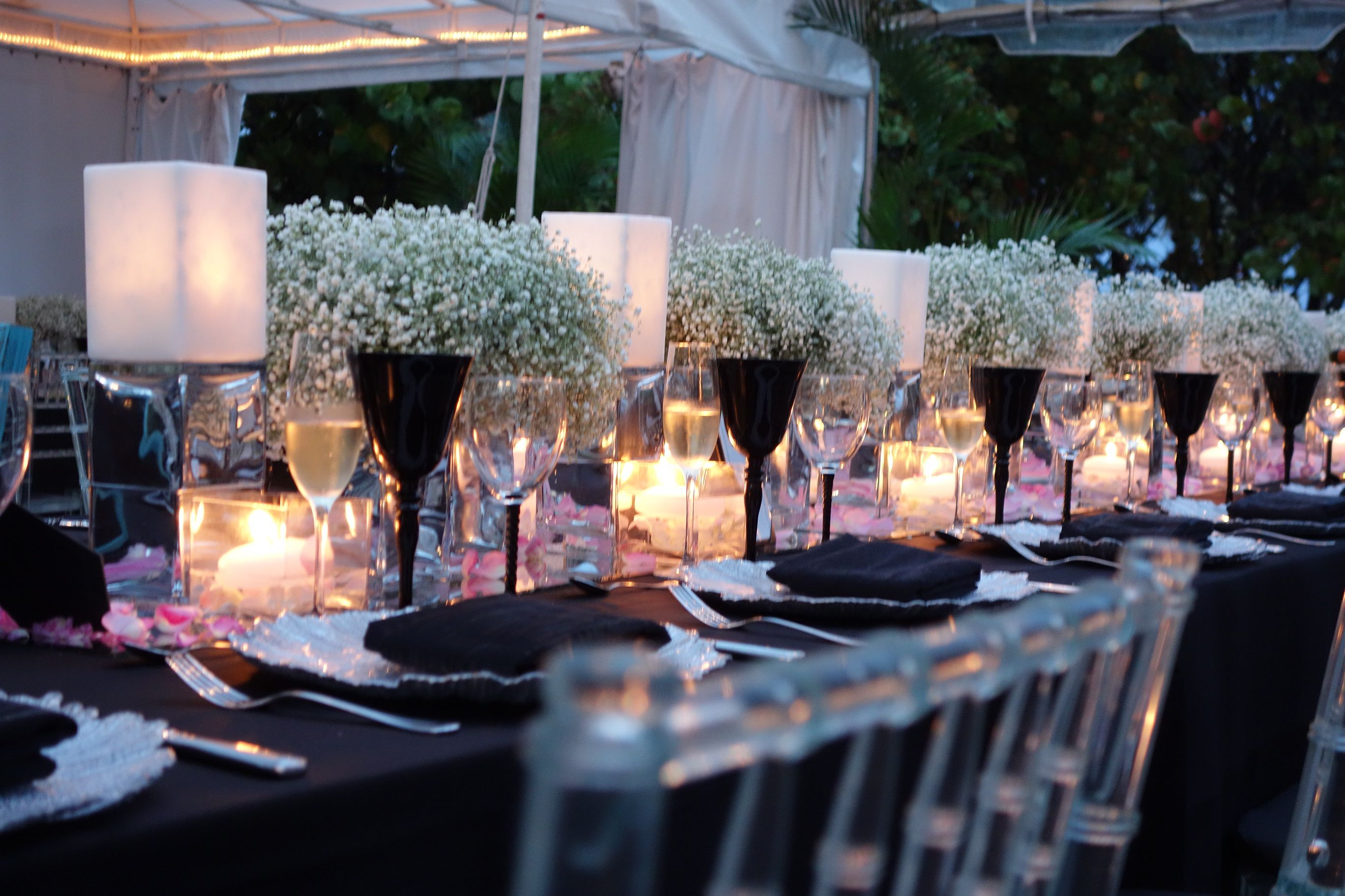 Wedding Centerpieces, Low Centerpiece, Modern Centerpiece, Fisher Island Wedding, Miami