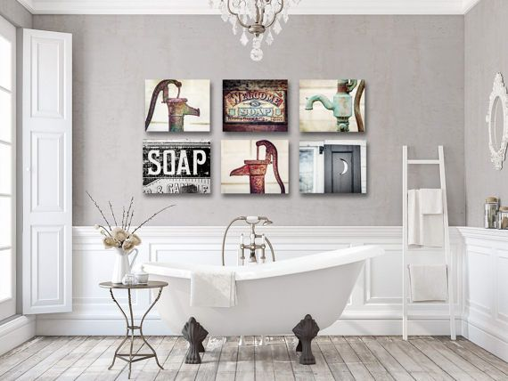 Rustic Farmhouse Bathroom Wall Decor Set Of 6 Art Prints Canvas