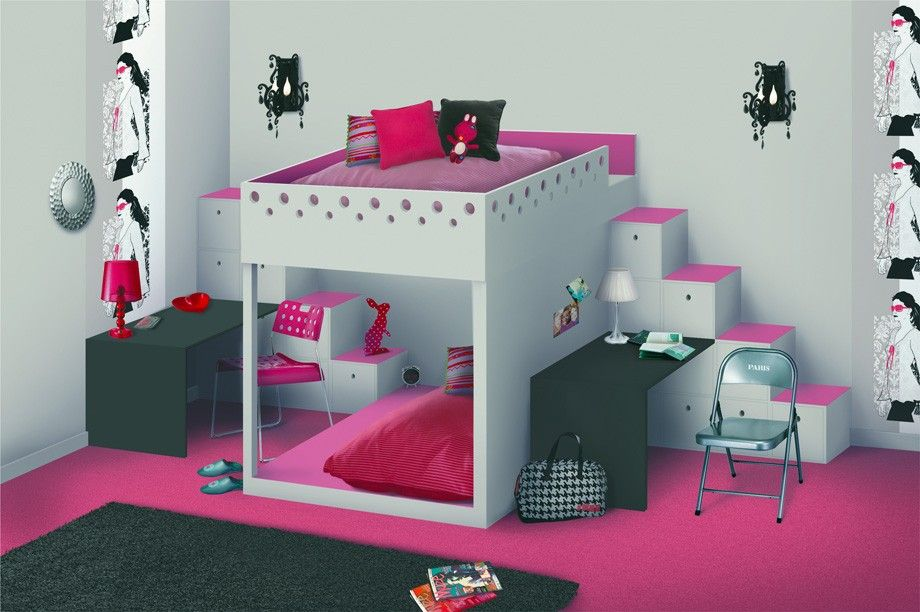 un am nagement qui fait une s paration pour deux enfants. Black Bedroom Furniture Sets. Home Design Ideas
