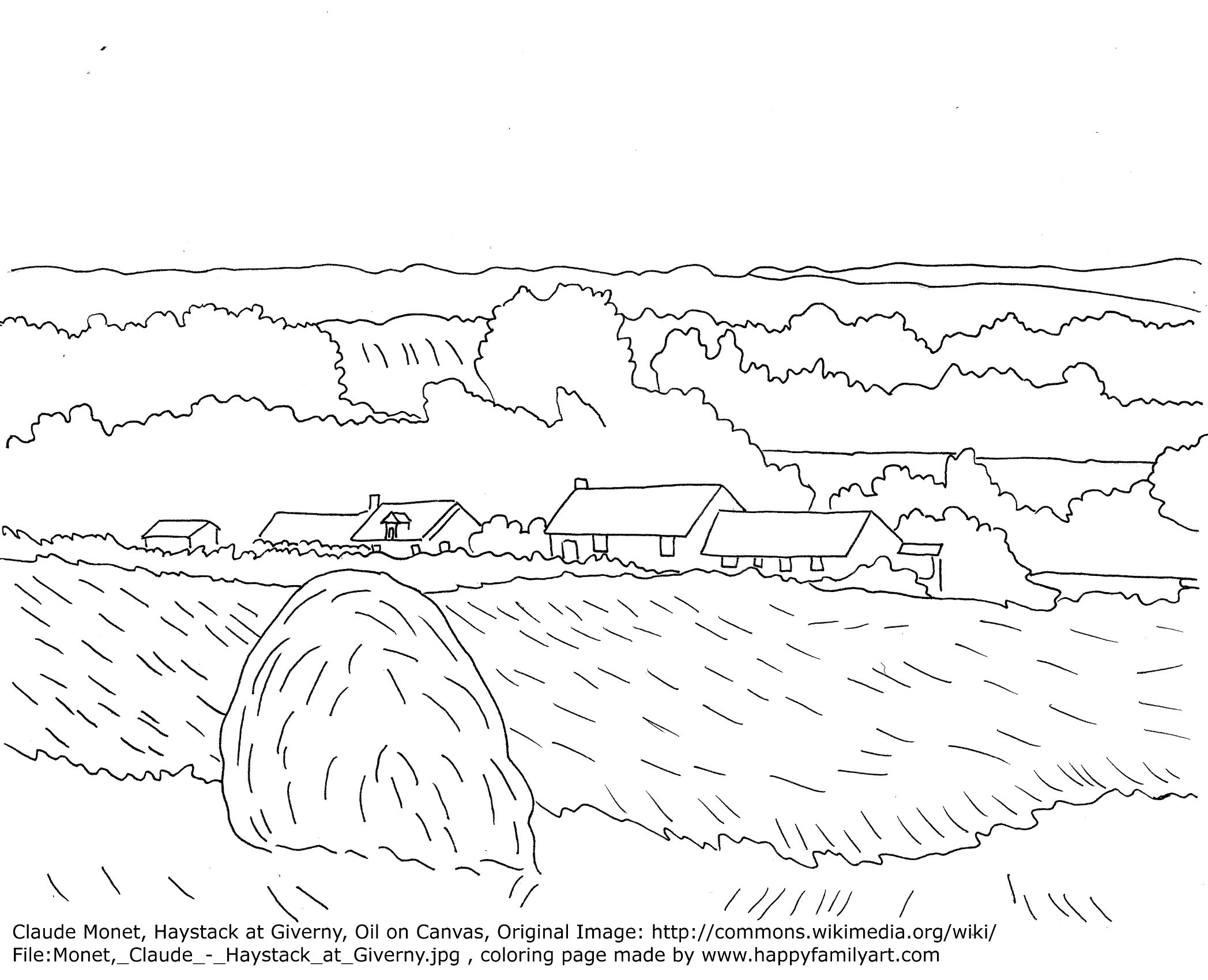 claude monet haystacks famous paintings coloring pages art