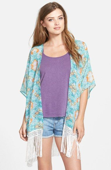 Sun & Shadow Print Fringe Kimono (Juniors) available at #Nordstrom