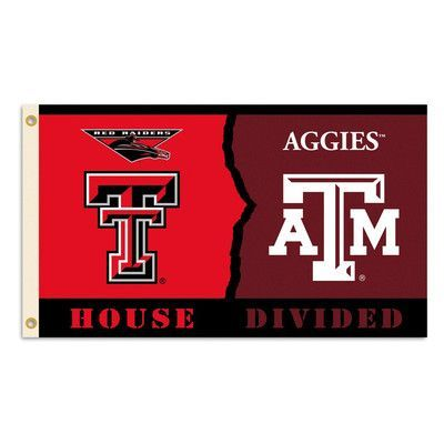 BSI Products NCAA Rivalry House Divided Traditional Flag NCAA Team: Texas Tech vs. Texas A&M