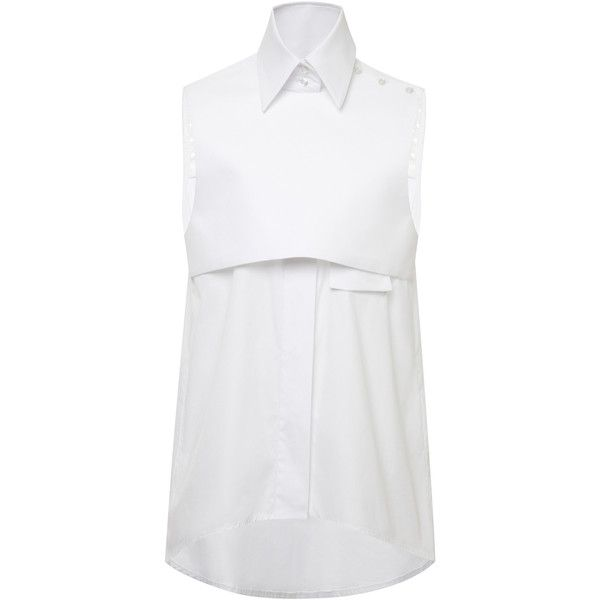 Ellery White Cotton Sleeveless Danube Shirt (320 AUD) ❤ liked on Polyvore
