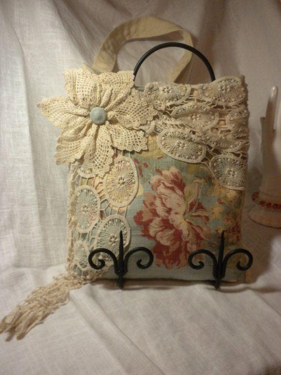 Antique Blue Floral Wrapped In Vintage Doilies Handbag