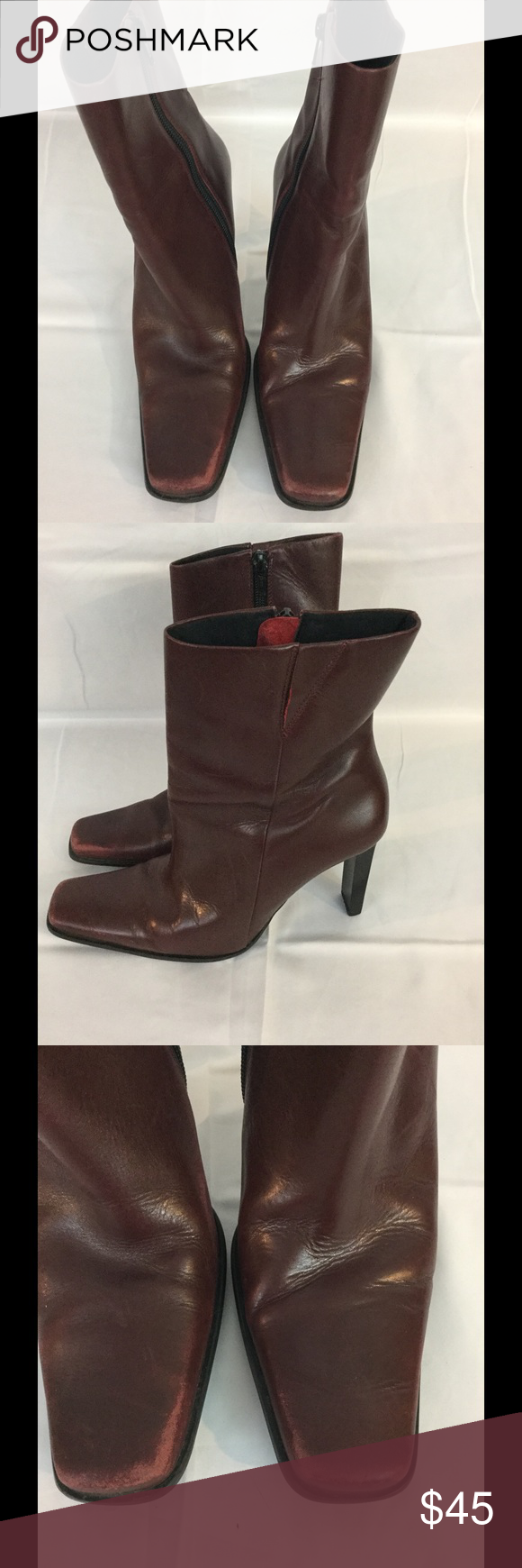 """BAKERS Burgundy Leather High Heel Ankle Boots BAKERS Burgundy Leather High Heel Ankle Boots w/ Side Zipper 6.5 Jenie  STYLE  These boots are classic leather style show sophistication.... There is a little wear on the top of the boots see pics..   Heel height 4""""  Color burgundy  Style Jenie  Maker Bakers Leather Zip up ankle boots  Still lot of life left in these boots.   If you have any questions please email me Bakers Shoes Heeled Boots"""