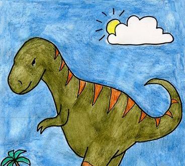 كيفية رسم ديناصور خطوة بخطوة تعلم الرسم تعلم الرسم ببساطة Kindergarten Art Projects Art Drawings For Kids Kindergarten Art