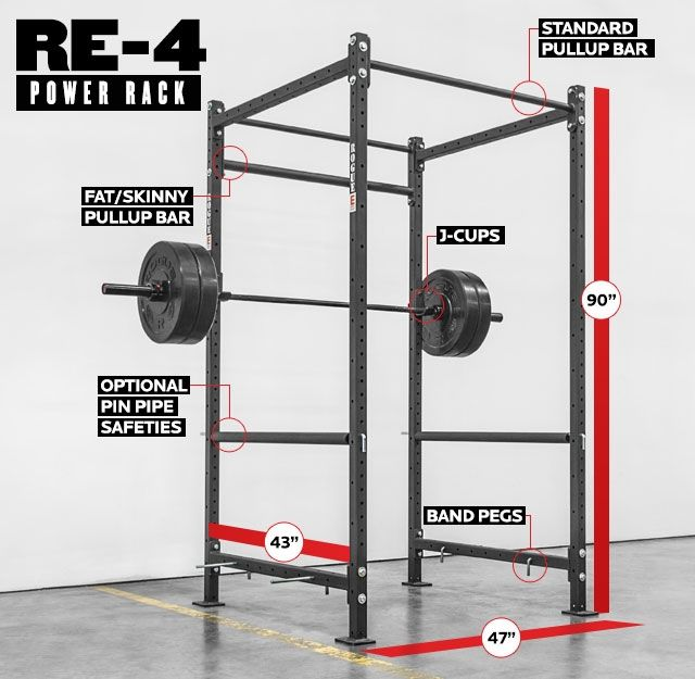 Rogue Re 4 Echo Rack Weight Training 2x2 11 Gauge Steel Power Rack Squat Rack Pull Up Bar