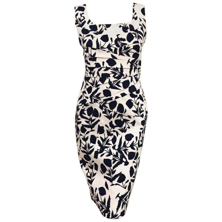 Objective Oscar De La Renta Blue And White Floral Pique Sleeveless Dress Fashion Oscar De La Renta Dresses