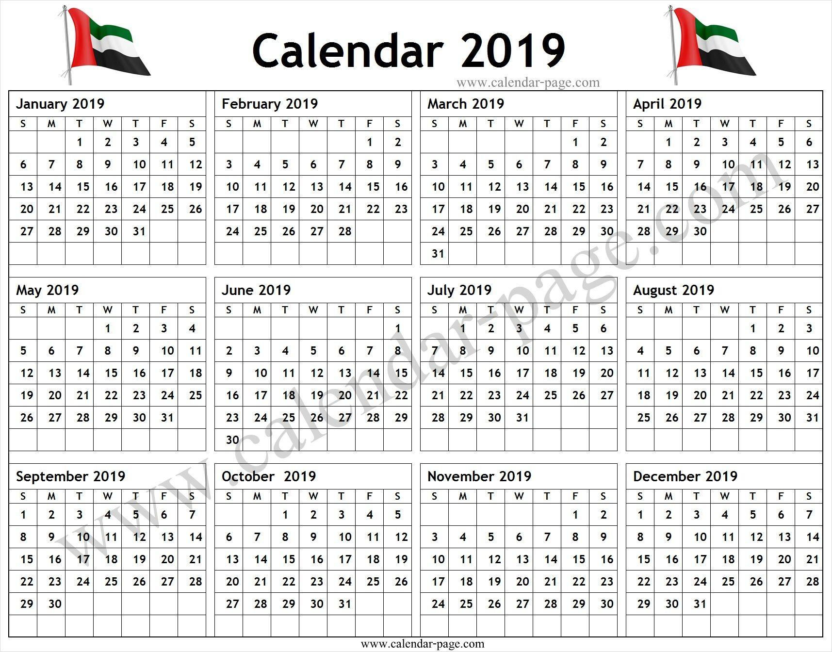 Calendar 2019 Uae Pdf Blank Calendar 2019 Template Calendar