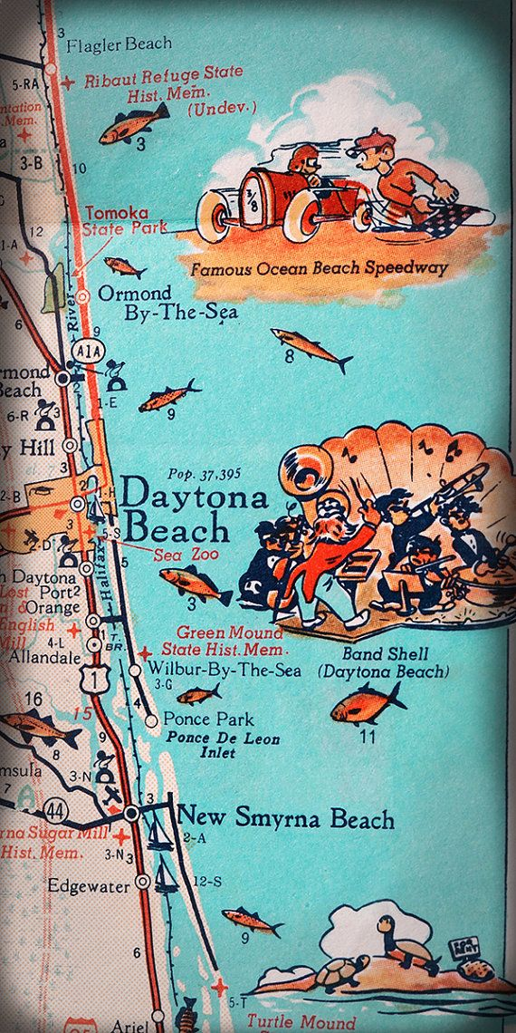 Florida East Coast Map.Daytona Beach Ormand Beach Retro Beach Map Panoramic Print Funky