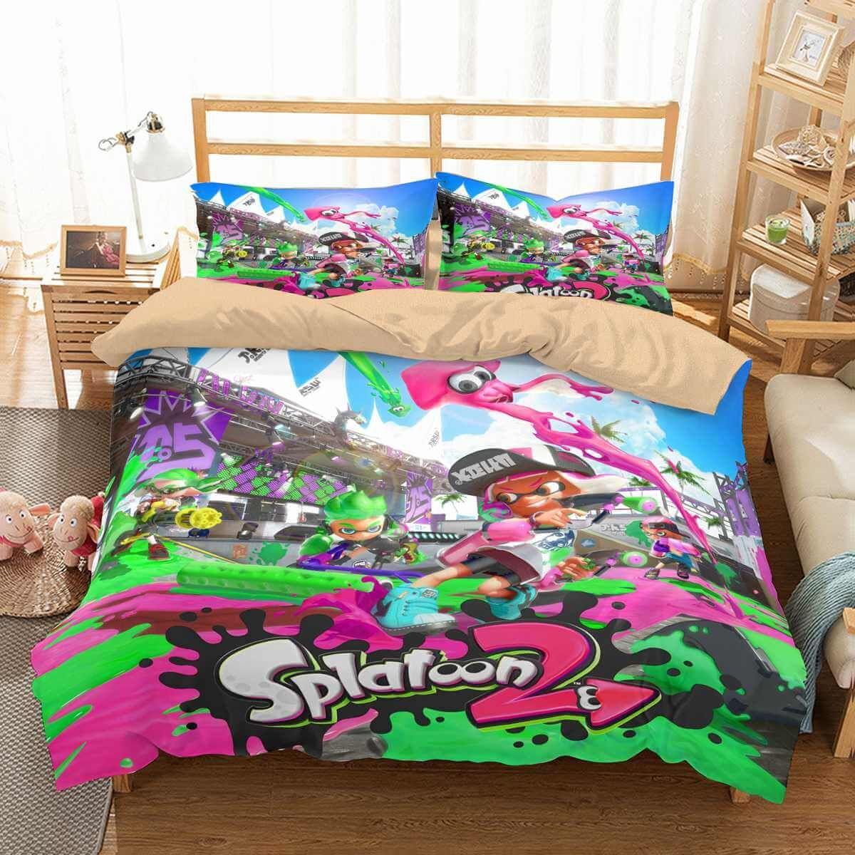 41a46b46172d 3D Customize Splatoon 2 Bedding Set Duvet Cover Set Bedroom Set Bedlinen
