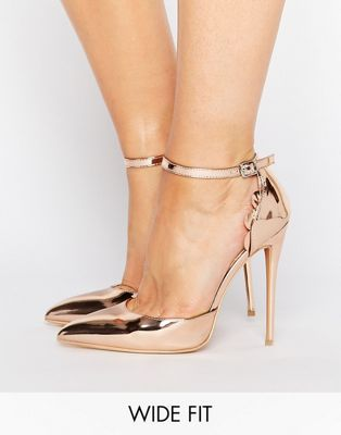 8a4e08bea1 Lost Ink Wide Fit Scalloped Rose Gold Metallic Heeled Shoes | Pamper ...