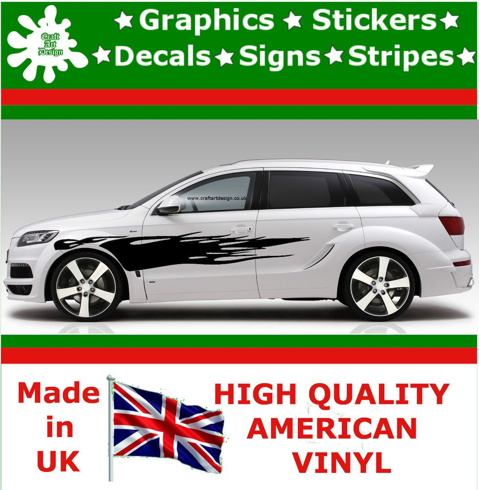 10 High Car Side Stripes Graphic Decal Vinyl Stickers Van Auto Rally Race F1 11