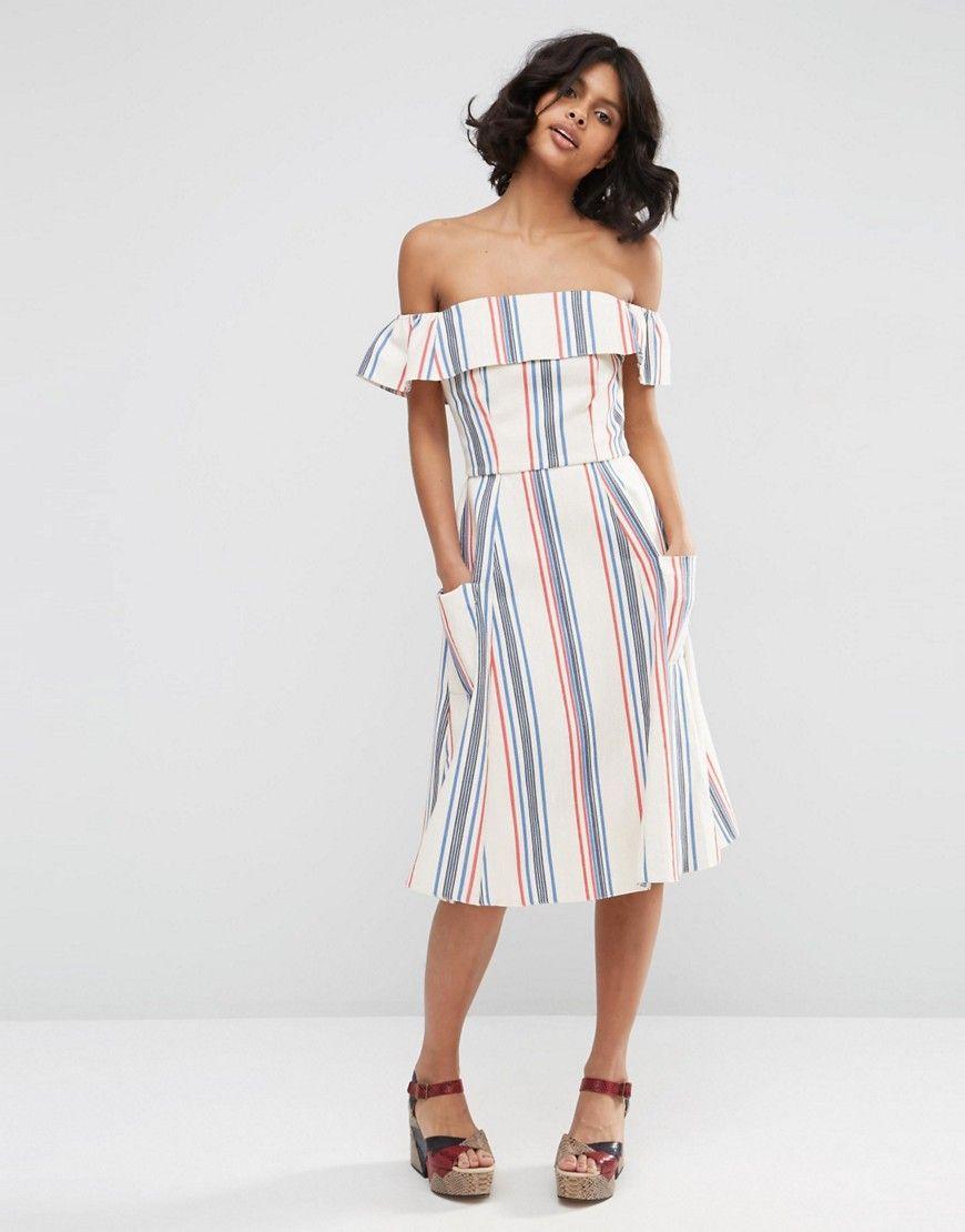 Buy it now. ASOS Off Shoulder Stripe Sundress in Natural Fibre ...