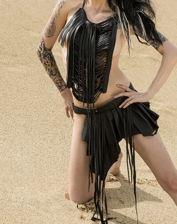 Bizarre Boudoir Asymmetrical Belted Leather Buckle Tribal Fusion Bohemian Warrior Goddess Pixie Skirt with Fringe
