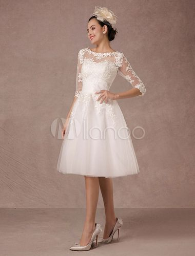 129450bef4e Short Wedding Dress Vintage Lace Applique Long Sleeves Tea-length A-line  Tulle Bridal Gown With Flower Sash-No.6