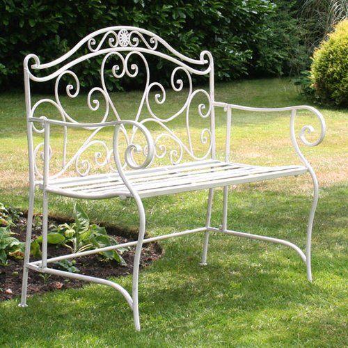 Iron Bench Charles Bentley Colour White Wrought Iron Bench
