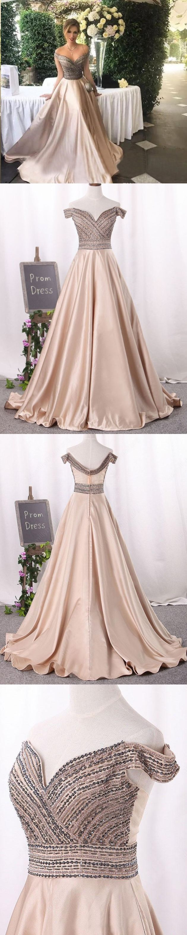 Long prom dresses offtheshoulder floorlength satin sexy prom