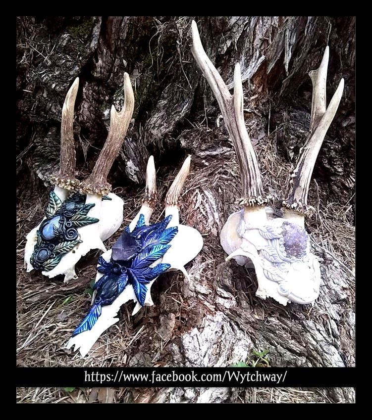 Deer Skull Altar Sculptures Various crystals used. Available at  https://www.facebook.com/Wytchway/  Event: https://www.facebook.com/events/874029049377318/  We do customs also