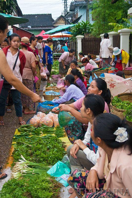 Morning markets, Luang Prabang, Laos. Luang Prabang, the capital of Luang Prabang Province in northern Laos, lies in a valley at the confluence of the Mekong and Nam Khan rivers. (V)