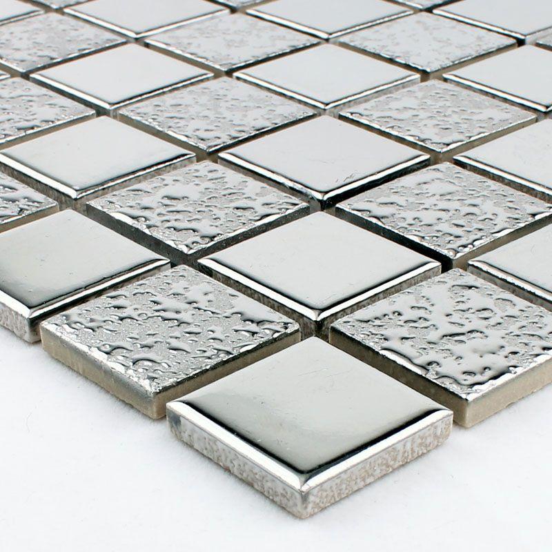 Porcelain Mosaic Grey Square Metal Coating Tile Kitchen Backsplash