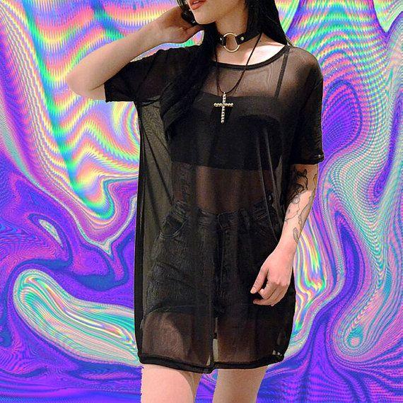 sheer mesh tshirt black tumblr fashion oversized mesh mini dress shirt club kid vintage 90s soft grunge cyber goth