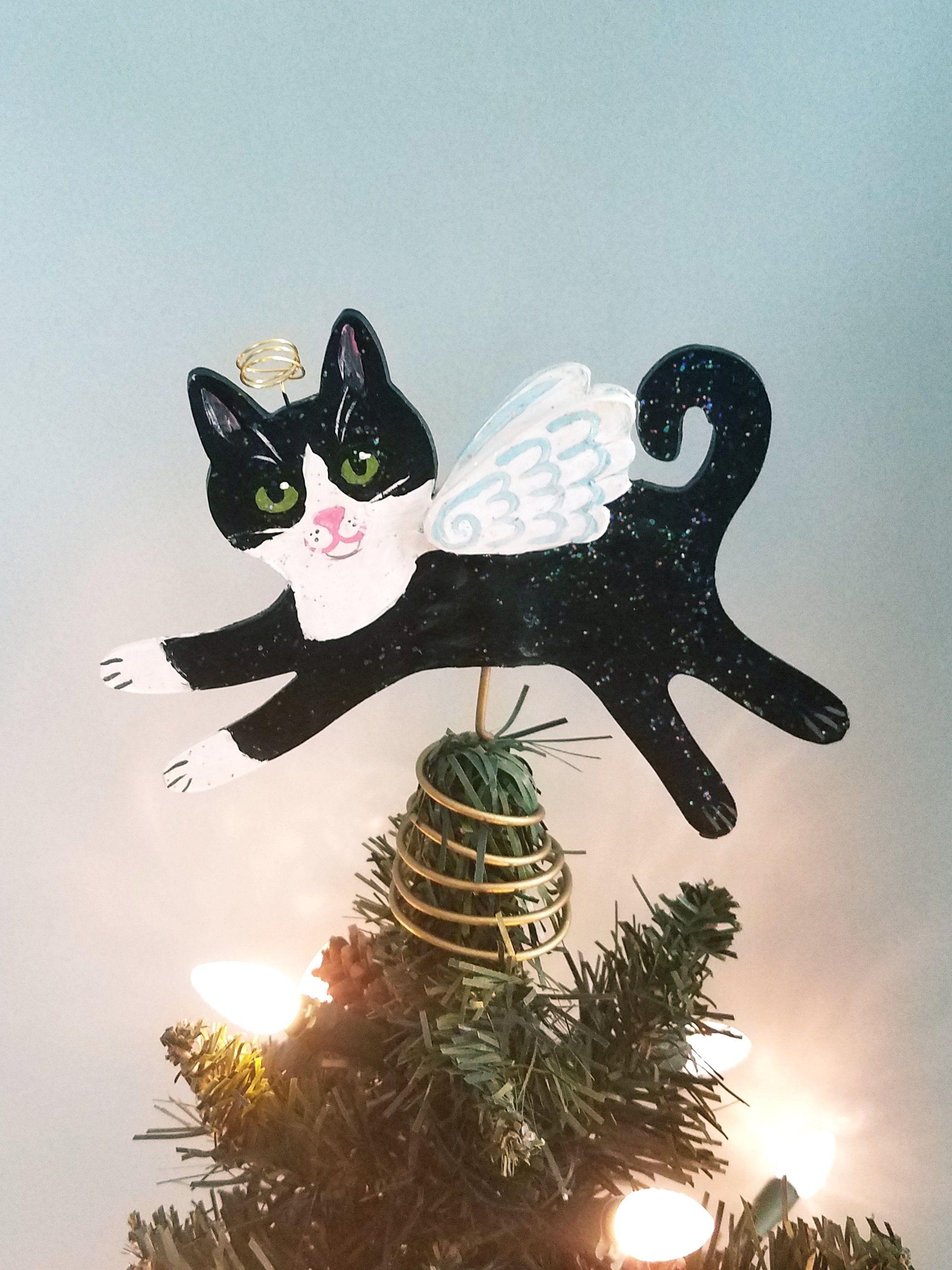 Tuxedo Cat Angel Tree Topper Cat Christmas Tree Topper Cat Memorial Cat Decor Cat Christmas Decoration Christmas Tree Topper Cat Cat Christmas Tree