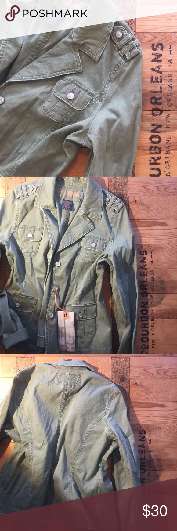 Green military jacket L Never worn. Size L -- measurements in images d jeans Jackets & Coats Utility Jackets