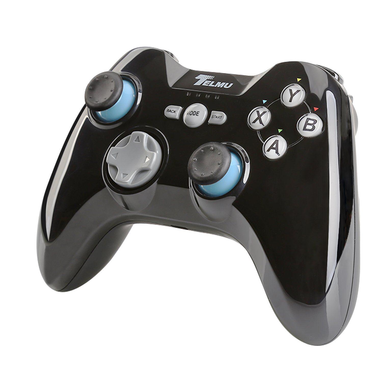 Telmu Manette Bluetooth sans Fil Manette pour PC, TV, Smartphones, Tablettes (Noir et bleu ...