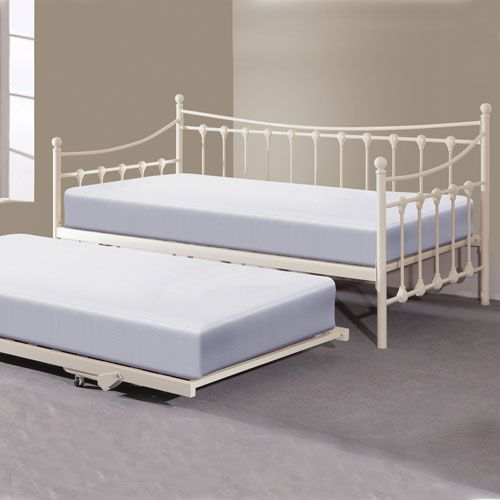 The Emma Cream Metal Day Bed With Trundle Bed Is An Excellent