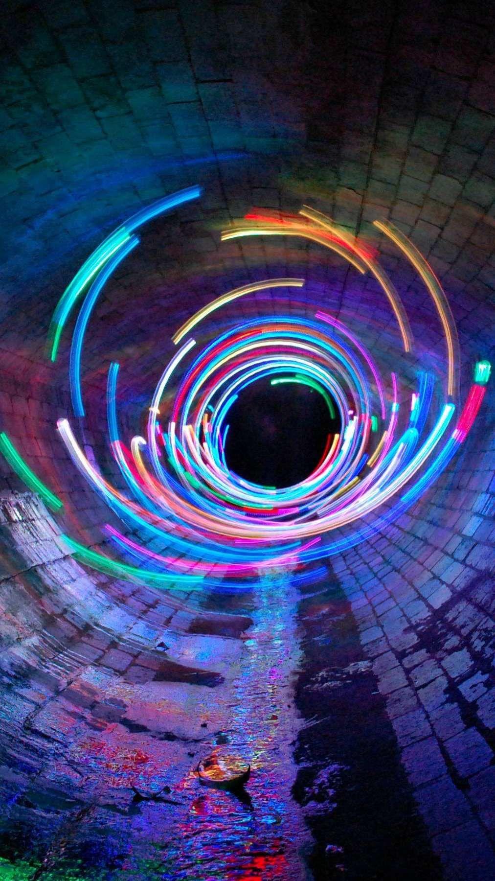 Long Exposure Lights Tunnel Wallpaper Art Wallpaper Neon