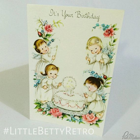 Vintage c1950s 50s birthday greetings card unused send or vintage birthday greetings card unused send or collecting scrapbooking or papercrafts glitter angels birthday cake cute bookmarktalkfo Images