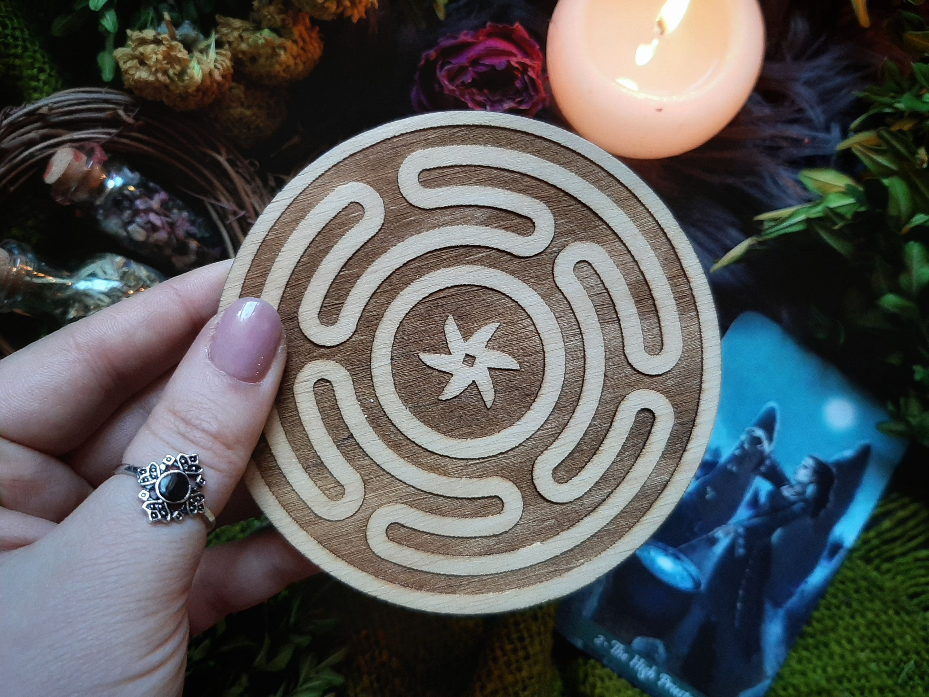 Hecate Wheel Labyrinth, Wiccan decor, Hecate's Wheel Wooden Carving, witchcraft supplies, Strophalos