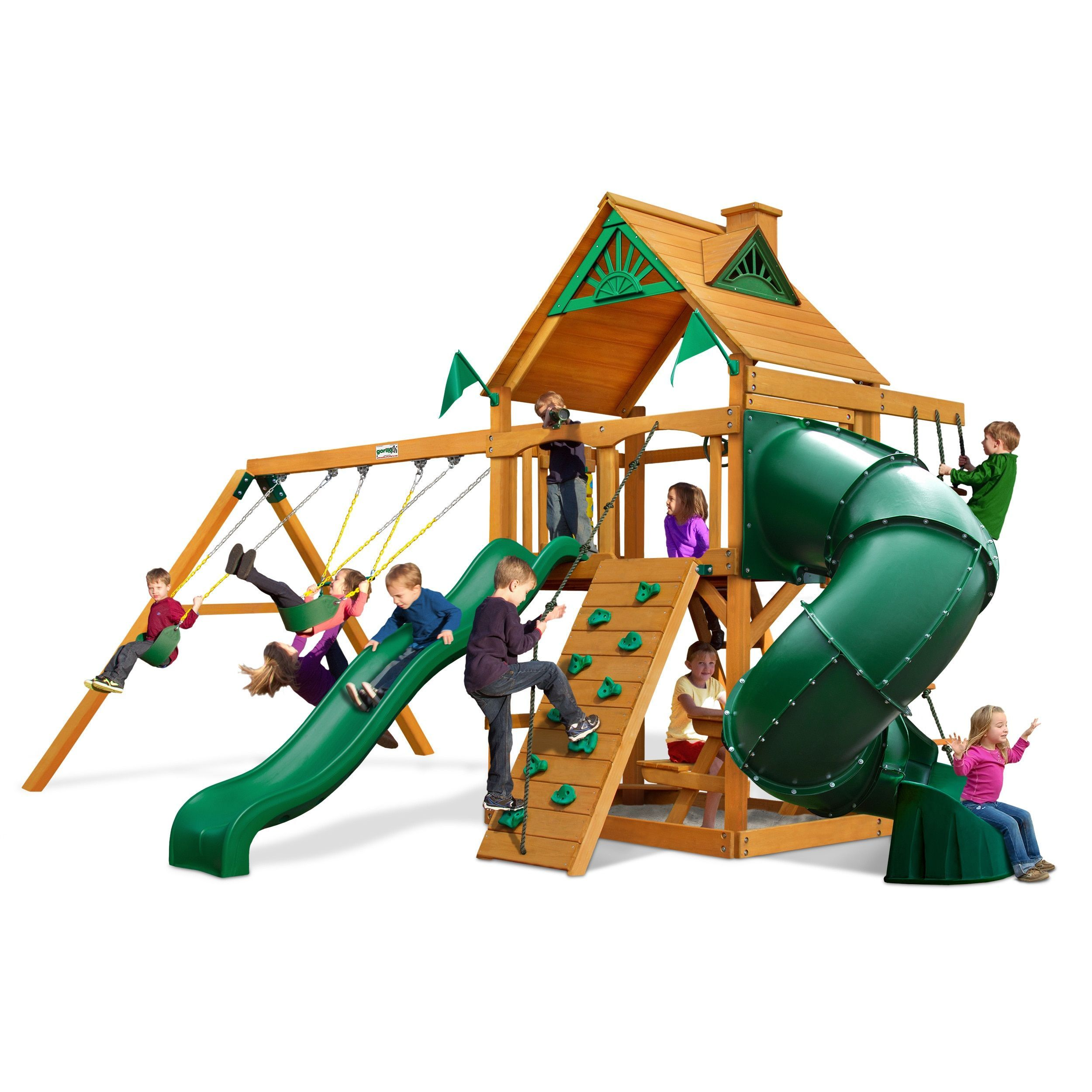 gorilla playsets mountaineer cedar swing set with amber posts by