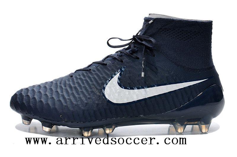 "982dcb7b204 Nike Magista Obra FG with""ACC"" Deep blue white high-top TPU nail soccer  cleats"