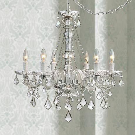 Anibal Clear Glass And Acrylic Plug In Swag Chandelier 8c505 Lamps Plus Acrylic Chandelier Swag Chandelier Swag Pendant Light