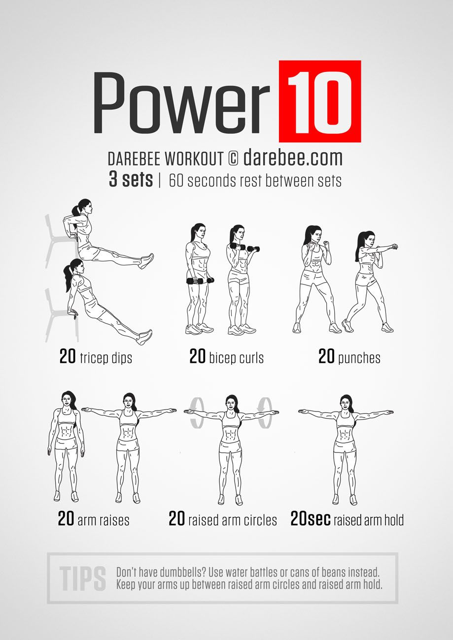 Power +10 Workout (Upper Body) | Workouts | Arm workout no equipment