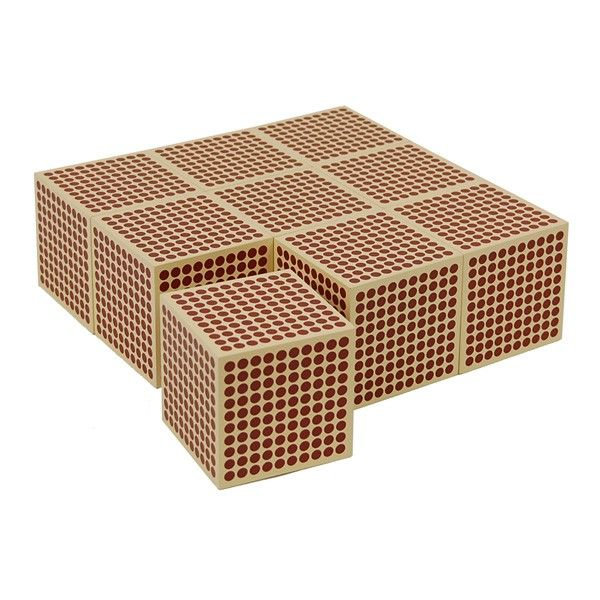 9 Wooden Thousand Cubes | KidAdvance.com