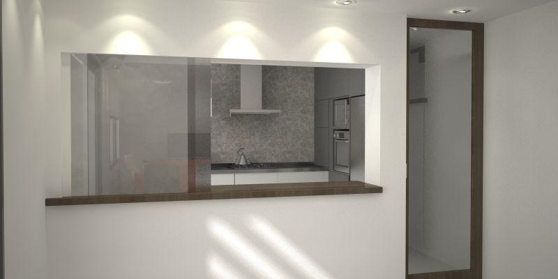 Dise o cocina comedor pasaplatos espejo buscar con for Espejo y barra montessori
