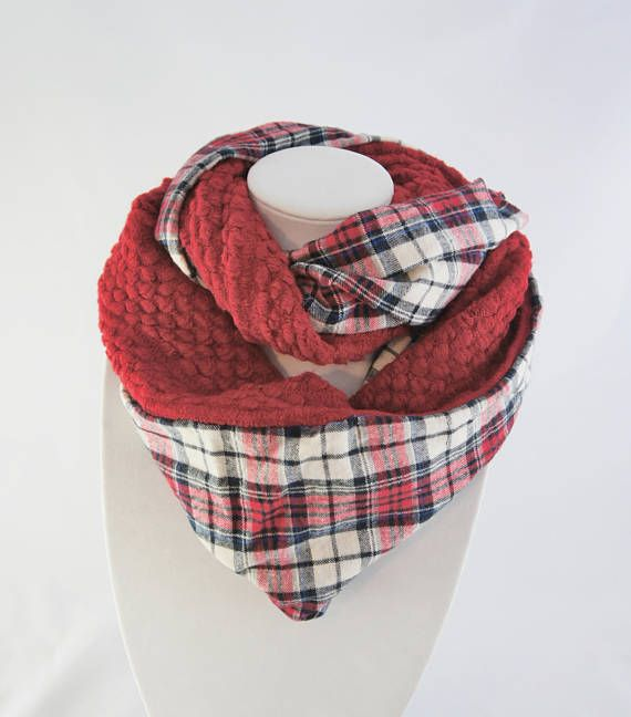Flannel and knit infinity scarf with plaid tartan scarf | 2018 Wish ...
