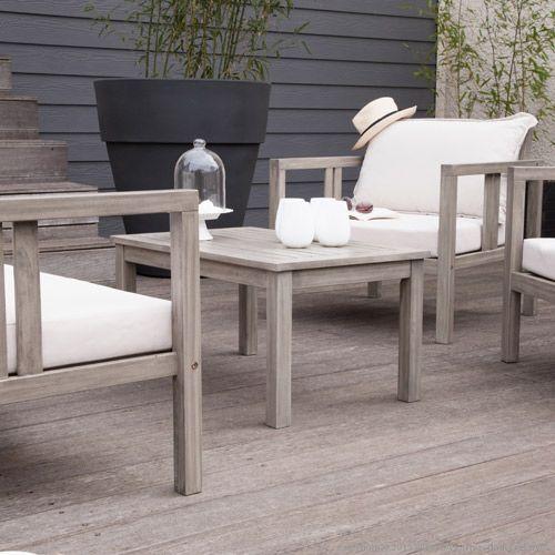 Salon de jardin bas 4 places en acacia grisé Silverwood ...