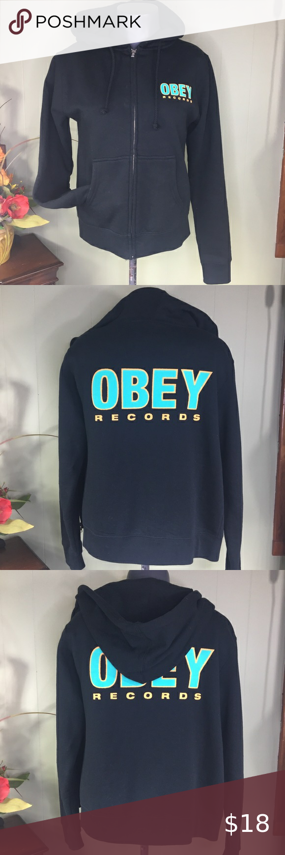 Obey Records Black Hoodie Full Zip Logo Back Sz S Black Hoodie Full Zip Hoodie Sweatshirt Tops