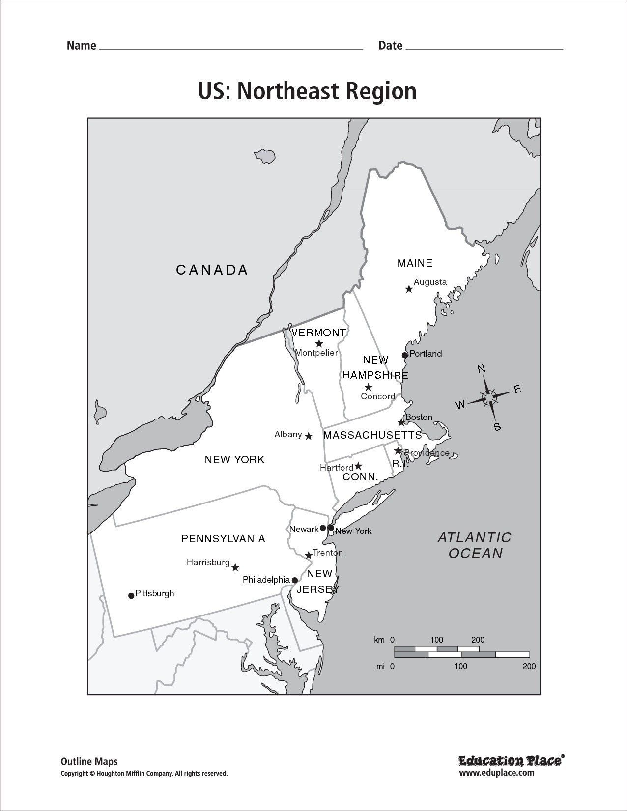 Us Capitals Map Quiz Printable New Northeast Region Map